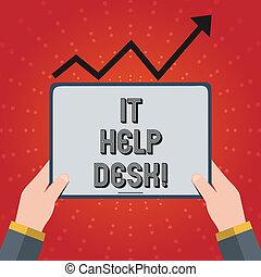 note, aide, business, technology., photo, projection, il, écriture, portion, desk., ligne, showcasing, soutien, assistance