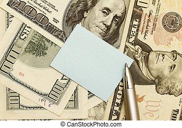 note, billets banque, sur, dollar, américain