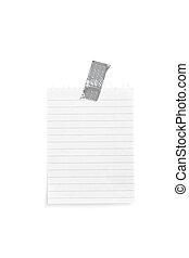 note, blanc, papier, sticked