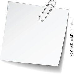 note, blanc, vecteur, papier, trombone