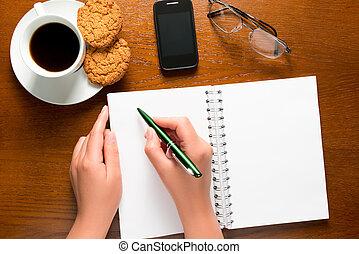 note, blocco note, mano, penna, femmina, aperto