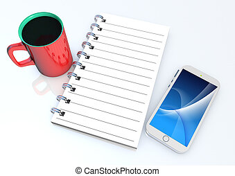 Note book and smart phone