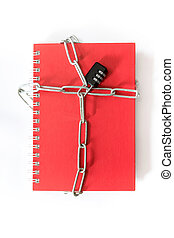 Note Book red lock with a key chain.