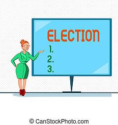note, bureau, business, photo, projection, organisé, écriture, election., showcasing, démontrer, politique, vote, choix, formel