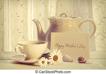 Note card with teapot and cup for Mother's day