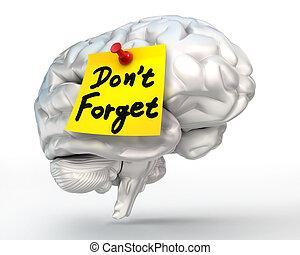 note, cerveau, rappel, pas, oublier