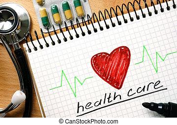 note, concept, santé, mots, soin