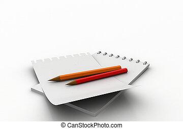 note, crayon, blanc, tampon