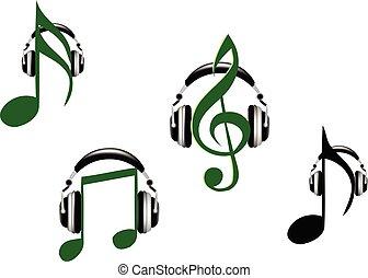 note, cuffie, musica