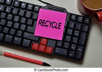 note, desk., recycler, écrire, isolé, bureau, collant