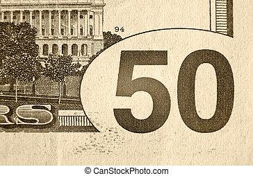 note, dollar, cinquante