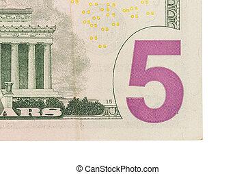 note, dollar, haut, nous, cinq, fin