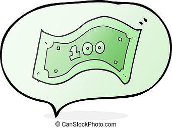note, dollar, parole, 100, bulle, dessin animé