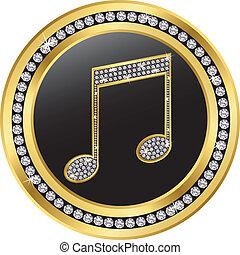 note, doré, diamants, musique, ve
