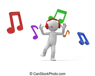 note - A 3d man dancing, a few notes background