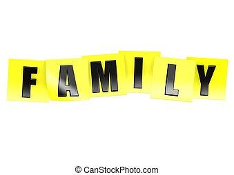 note, famille, jaune