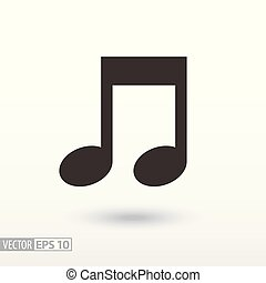 Note flat Icon. Sign music