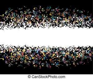 note, fondo, musicale, colorito