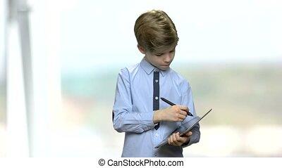 note, garçon, numérique, confection, tablet.