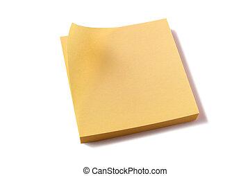 note, giallo, appiccicoso, cuscinetto, fondo, palo, bianco