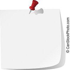 note, goupillé, papier, blanc