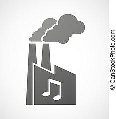 note, industriel, musique, usine, icône