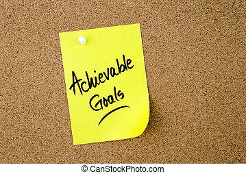 note jaune, écrit, papier, buts, achievable