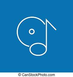 note, ligne, disque, icon.