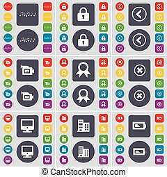 Note, Lock, Arrow left, Film camera, Medal, Stop, Monitor, Building, Battery icon symbol. A large set of flat, colored buttons for your design. Vector