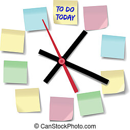 Note memos busy day time clock - Post daily to do list...