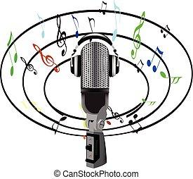 note, microfono, musica, intorno, tutto