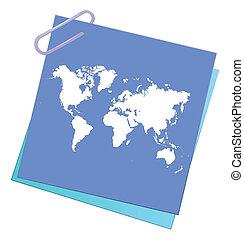 note, mondiale, papier, carte