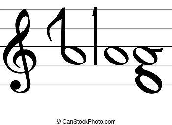 note, mot, symbole, blog, conception, musique
