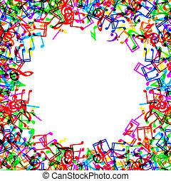 note musica, bordo, cornice