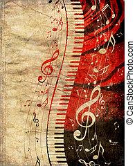 note musica, grunge, tastiera pianoforte