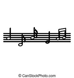 note musica, modello, isolato, icona