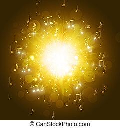 note musica, sfondo dorato