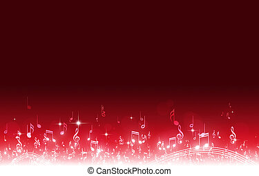 note musica, sfondo rosso