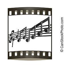 note musica, stave., nero, striscia, vario, 3d., film