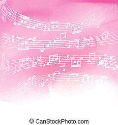 note musica, su, acquarello, fondo