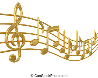 note musica, su, doghe