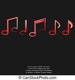 note musica, su, doghe, con, astratto, fondo
