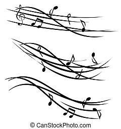 note musica, su, ornamentale, doghe