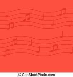 note musica, su, rosso, fondo.