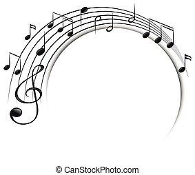note musica, su, scala