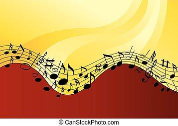 note musica, su, uno, sfondo colore