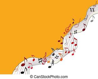 note musica, su, uno, solide, sfondo arancia