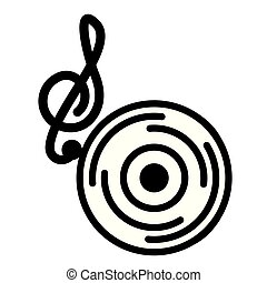 note musical vinyl on white background