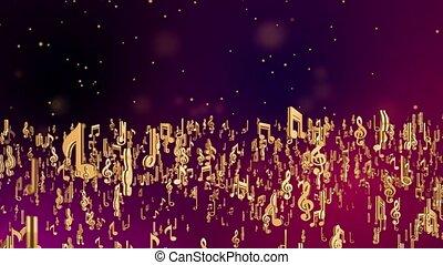 note musicale, boucle, coloré, symboles, fond, audio, résumé, musique, doré, vague, battement, son