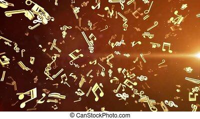 note musicale, slying, tourner, boucle, animation, arrière-plan., scène, brillant, doré